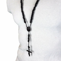 BLACK TONE PRAYER HAND ROSARY