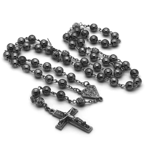 GRAY DIAMOND SHAPE ROSARY