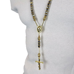 GOLD GRAY PRAYER HAND ROSARY