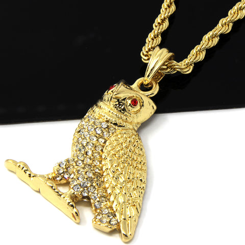 OWL PENDANT RED EYE WITH GOLD ROPE CHAIN