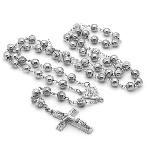 SILVER DIAMOND SHAPE ROSARY