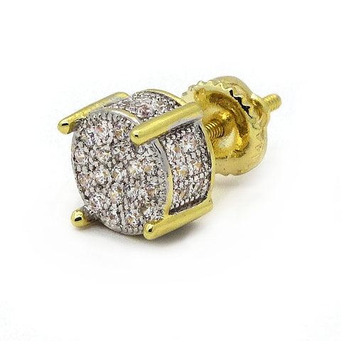 Screw Back Cz Two Tone Micro Pave
