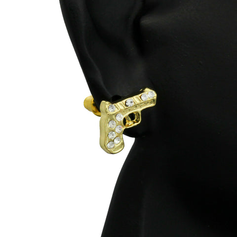 Cz Pistol GOLD FILLED EARRINGS