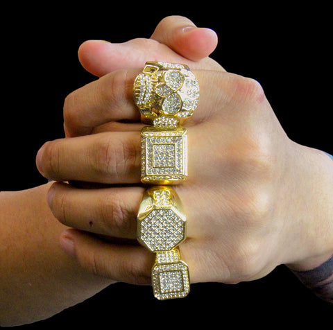 Octagon Type Iced Out 4pcs Ring Set Bundle