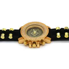 Gold Ice Out Milano Black Silicone Band Watch