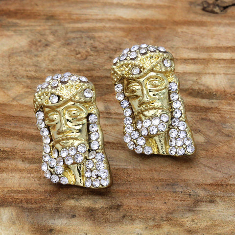 Cz Jesus Face GOLD FILLED EARRINGS