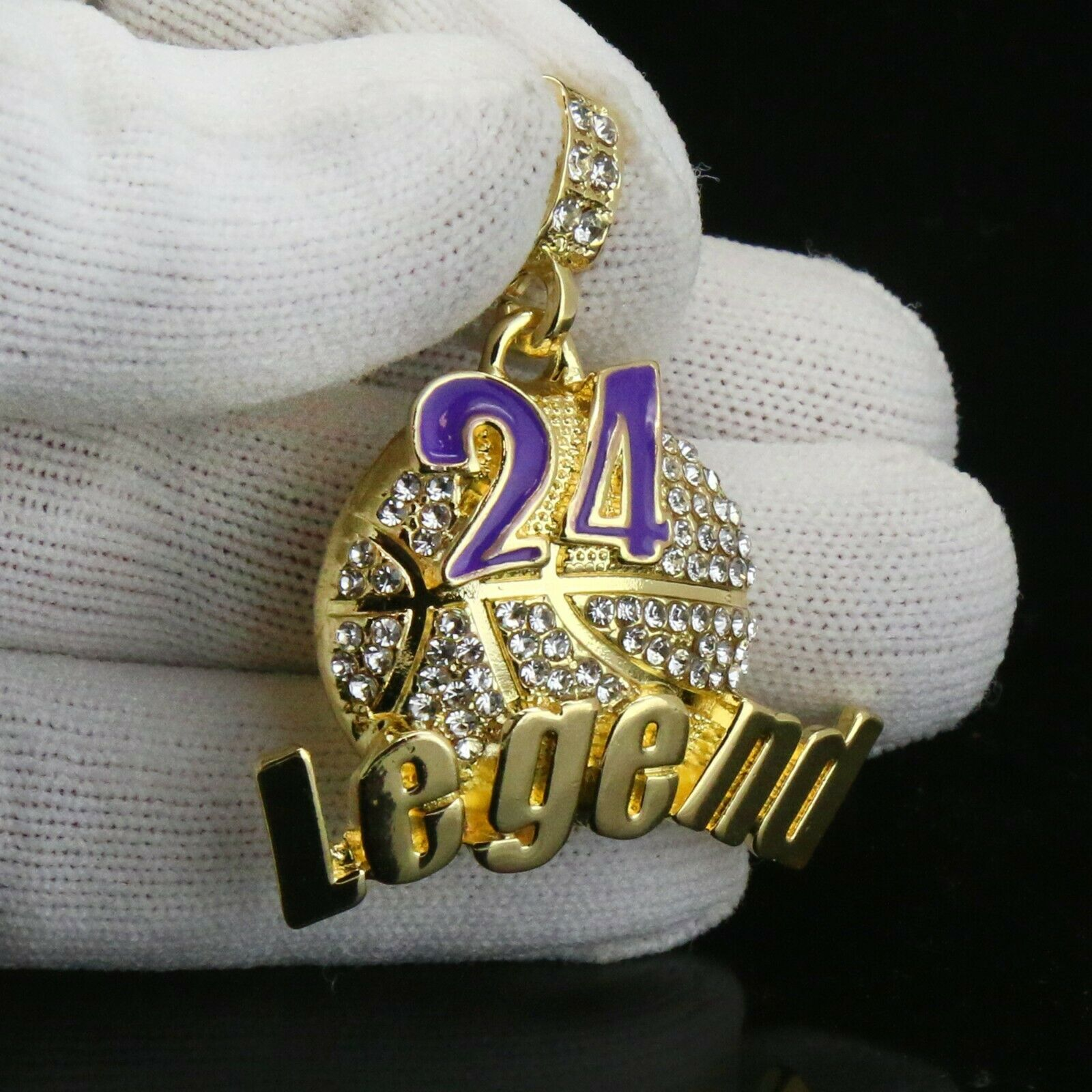 Gold / Purple #24 Legend Basketball Pendant with Rope Chain