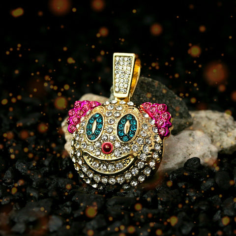 "Colorful Fully Iced Clown/Jester 14k Gold PT Pendant 6mm 24"" inches Cuban Chain"