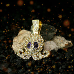 "Fully Iced SQUID Purple Eyes 14k Gold PT Pendant 6mm 24"" inches Cuban Chain"