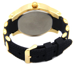 Gold Ice Out Ice KIng Silicone Band Watch