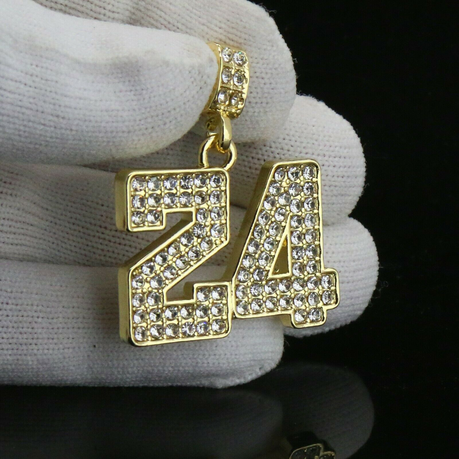 Gold Fully CZ #24 Jump Man Basketball Pendant with Figaro Chain