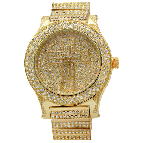Gold Fully Ice Out Cross Watch