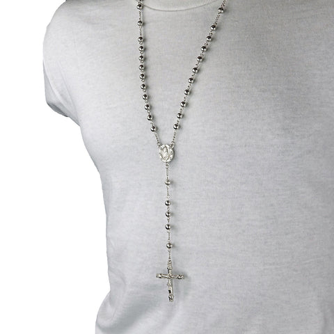 SILVER ROUND GUADALUPE ROSARY