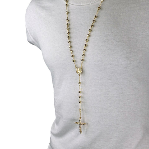 GOLD ROUND GUADALUPE ROSARY