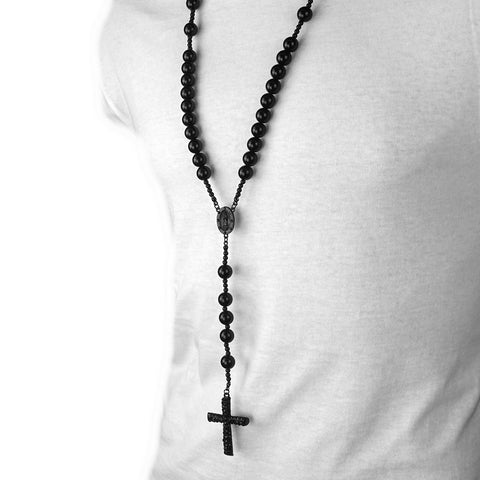 BLACK 15mm  GUADALUPE ROSARY