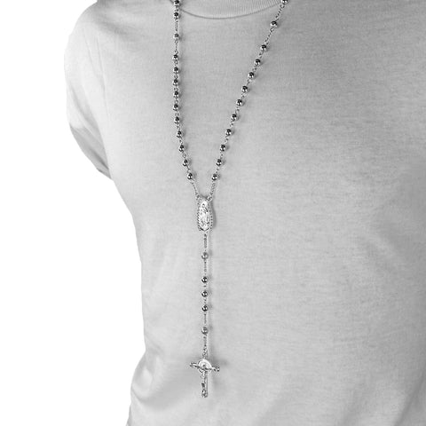 SILVER GUADALUPE ROSARY