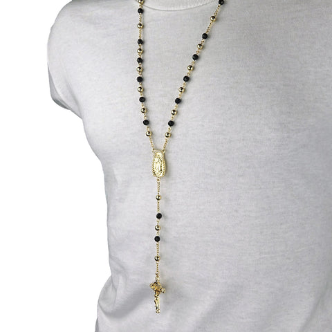 GOLD - BLACK GUADALUPE ROSARY