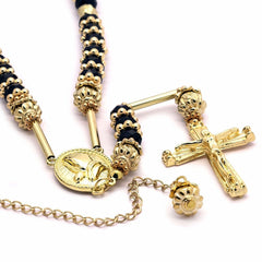GOLD BLACK PRAYER HAND ROSARY