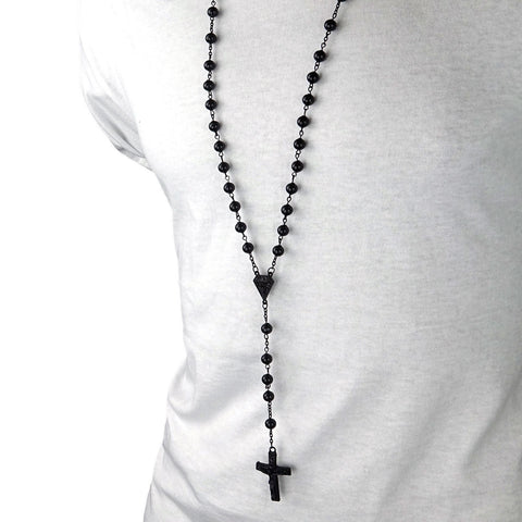BLACK DIAMOND SHAPE ROSARY