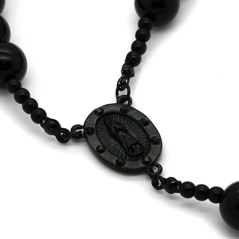 MATTE BLACK 15mm  GUADALUPE ROSARY