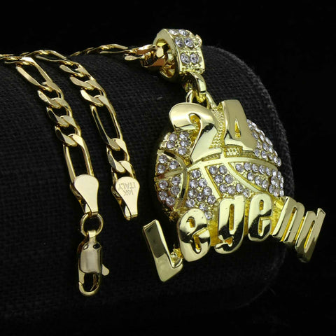 Gold #24 Legend Basketball Pendant with Rope Chain
