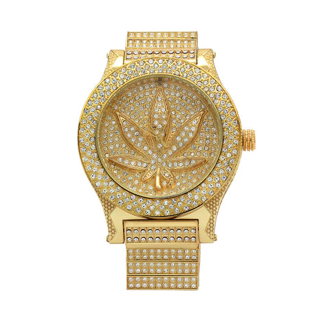 Gold Fully Ice Out Marijuana Leaft Watch
