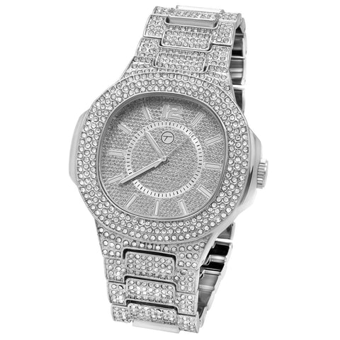 Silver Fully Ice Out Square Watch