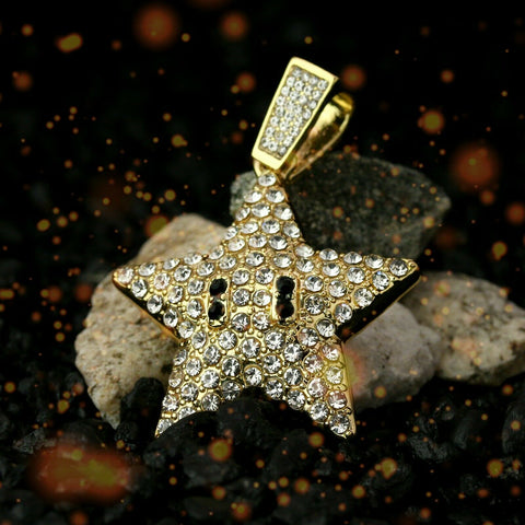 "Fully Iced Cartoon Pop Star 14k Gold PT Pendant / 6mm 24"" inches Cuban Chain"