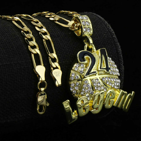 Gold / Black #24 Legend Basketball Pendant with Rope Chain