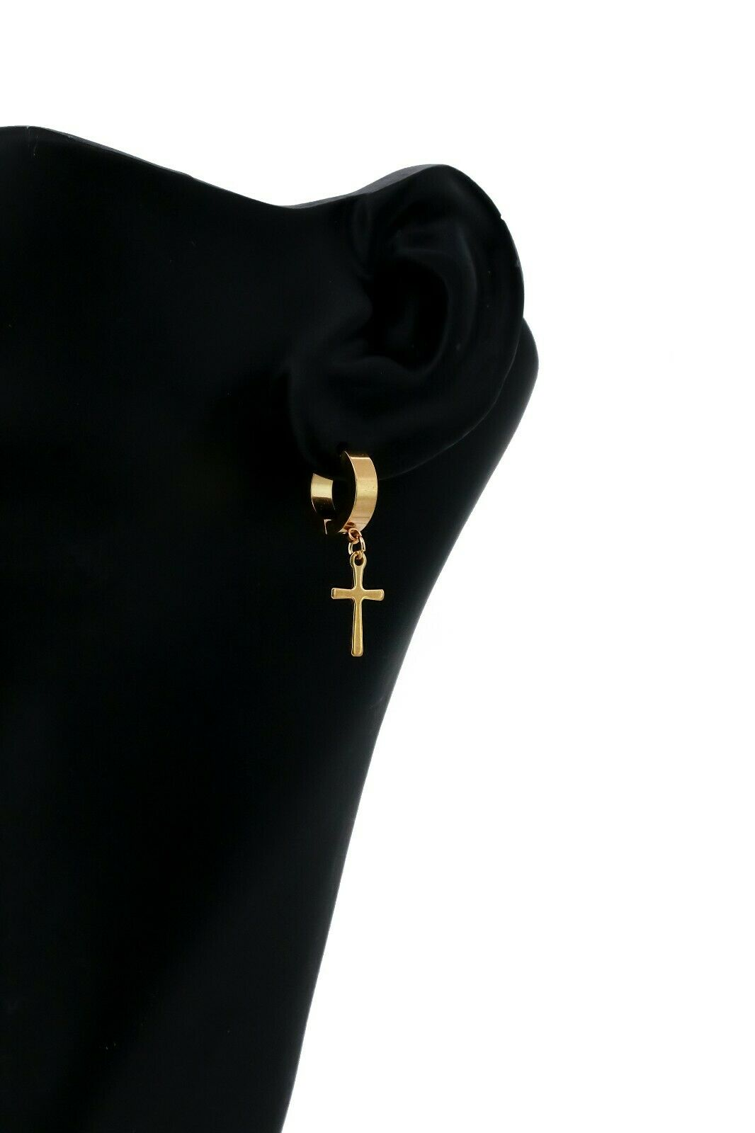 Small Cross Dangle 18k Gold Stainless Steel Plain Earring