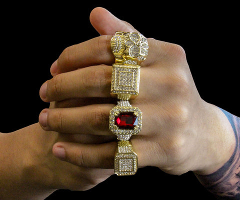 Red Ruby Iced Out 4pcs Ring Set Bundle