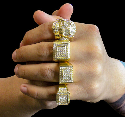 Rectangle Dome Iced Out 4pcs Ring Set Bundle
