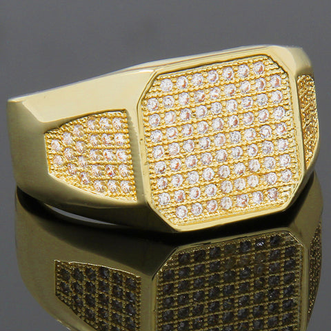 GOLD RECTANGLE SIDE CZ