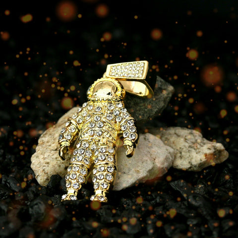 "Exquisite Fully Iced Astronaut Space Man 14k Gold PT Pendant 24"" Cuban Chain"