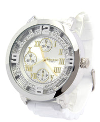 Silver Ice Out TK White Silicone Band Watch