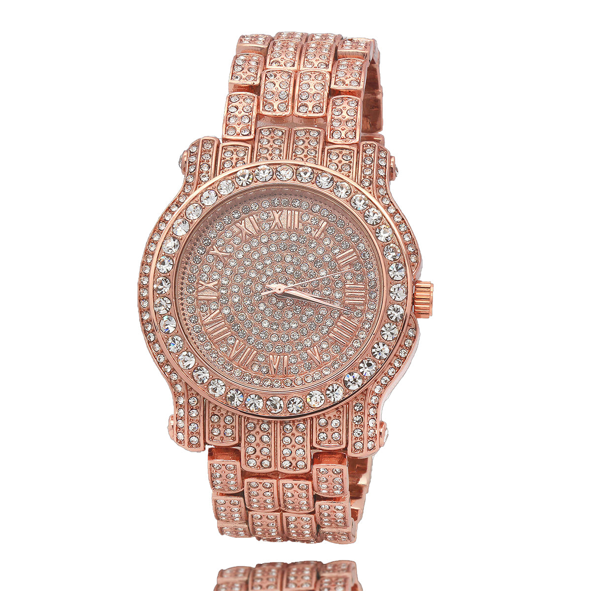 Rose Gold Fully Ice Out Techno Pave Roman Numbers Watch