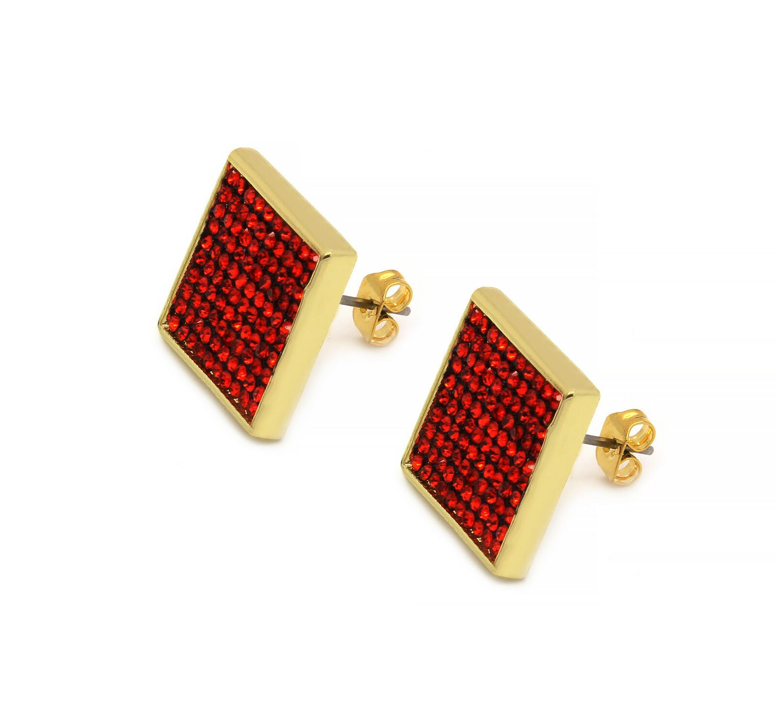 Red Cz Flat Square 10 Row