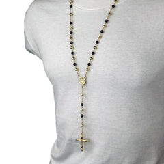 BLACK & GOLD ROUND GUADALUPE ROSARY