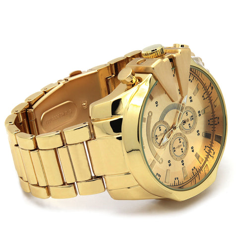 Gold Invicta Style Metal Band Watch