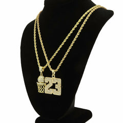 23 BASKETBALL DOUBLE PENDANT WITH GOLD ROPE CHAIN