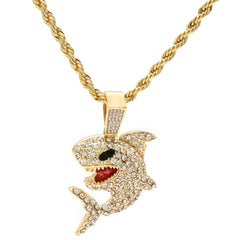 Shark 4 Pcs Set Cuban, Tennis Clear Cz & Rope Chain Bundle Gold PT