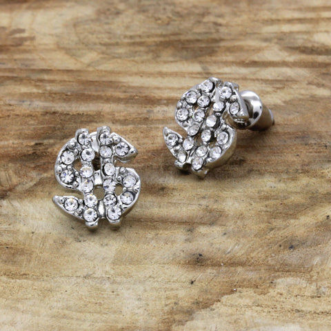 Cz Money Sign SILVER FILLED EARRINGS