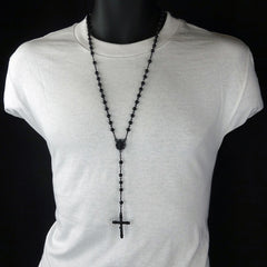 BLACK ROUND GUADALUPE ROSARY