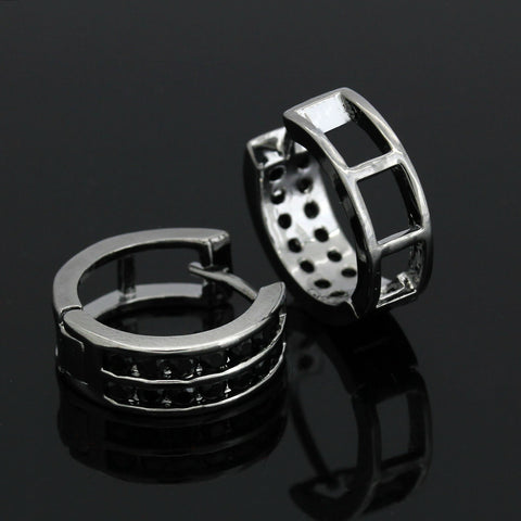 Huggie Hoop 2 Row BLACK FILLED EARRINGS