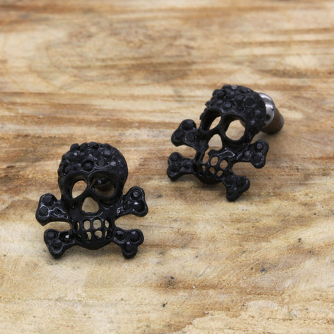 Cz Skull BLACK FILLED EARRINGS