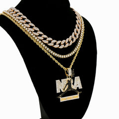 NbA Never Brock Again BL 4 Pcs Set Cuban, Tennis & Rope Chain Bundle Gold PT