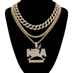 NbA Never Brock Again 4 Pcs Set Cuban, Tennis & Rope Chain Bundle Gold PT