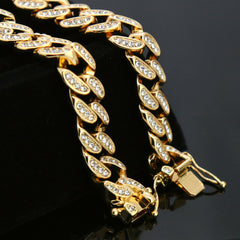 "High Fashion Gold Plated 20"" Fully Cz Cuban Tennis Chains & #8 Ball Pendant"