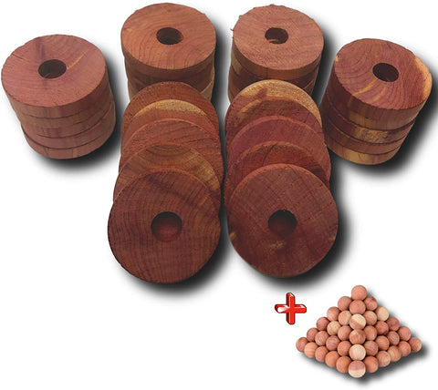 Image of Armour Shell Cedar Hanger Rings with 25 Bonus Balls - 12 Closet Blocks for Clothes Storage, Moth Protection for Clothes.