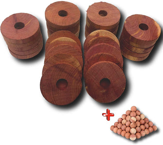 Armour Shell Cedar Hanger Rings with 25 Bonus Balls - 12 Closet Blocks for Clothes Storage, Moth Protection for Clothes.